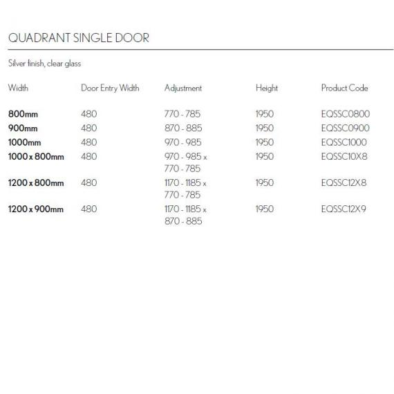 Simpsons Edge Single Door Quadrant Shower Enclosure Specification