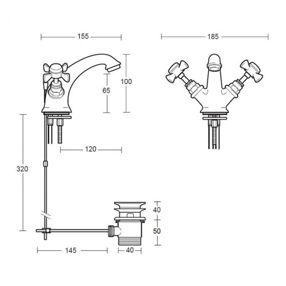 Imperial Edwardian Monobloc Basin Mixer Specification