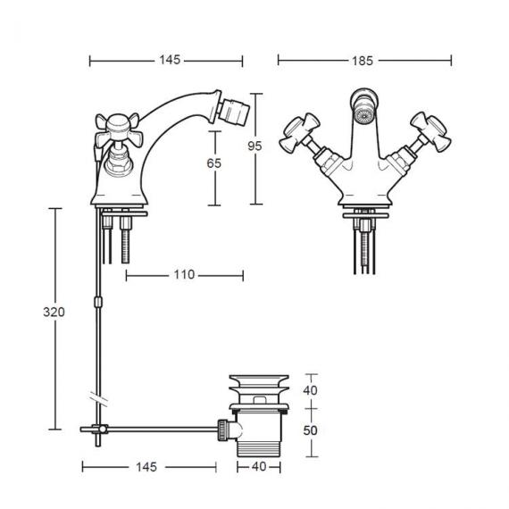 Imperial Edwardian Monobloc Bidet Mixer Specification