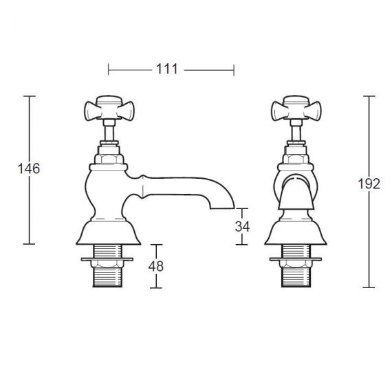 Imperial Edwardian Bath Pillar Taps Specification