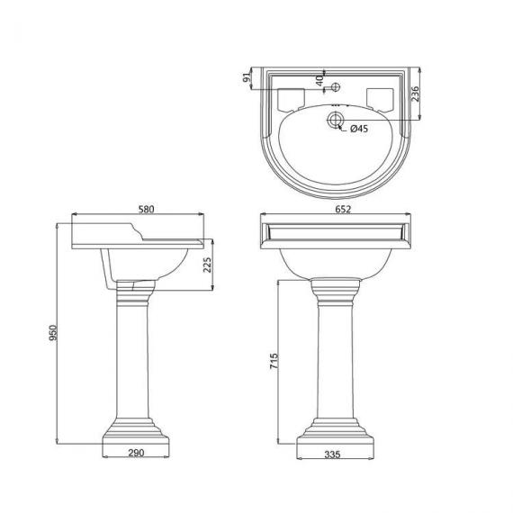 Burlington English Garden Round Basin & English Garden Round Pedestal - Spec