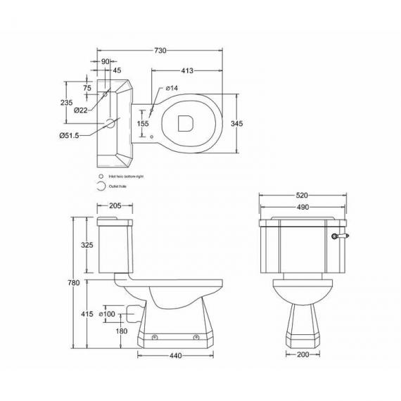 Burlington English Garden Close Coupled WC with Cistern - Spec