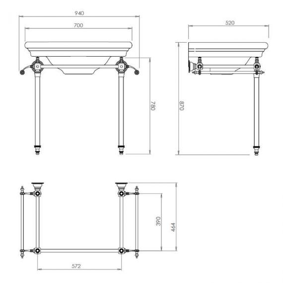 Imperial Etoile Hardwick Basin Stand with Glass Legs Specification
