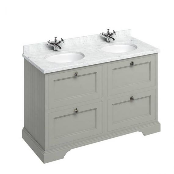 Burlington Olive 1300mm Double Vanity Unit With Drawers, Worktop & Basin - Image 3