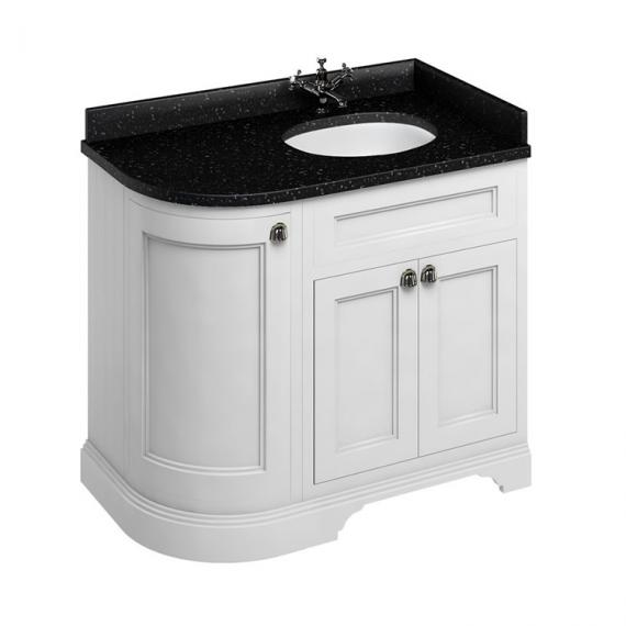 Burlington Matt White 1000mm Curved Vanity Unit With Doors, Worktop & Basin - Right Hand - Image 5