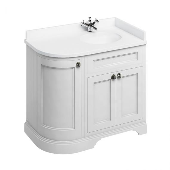Burlington Matt White 1000mm Curved Vanity Unit With Doors, Worktop & Basin - Right Hand