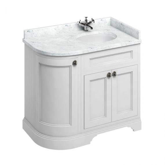 Burlington Matt White 1000mm Curved Vanity Unit With Doors, Worktop & Basin - Right Hand - Image 3