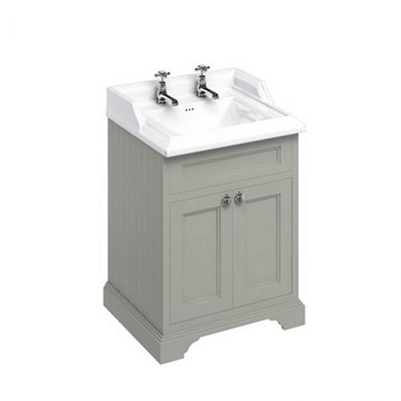 Burlington Olive 650mm Freestanding Vanity Unit With Doors & Classic Basin 2 tap hole