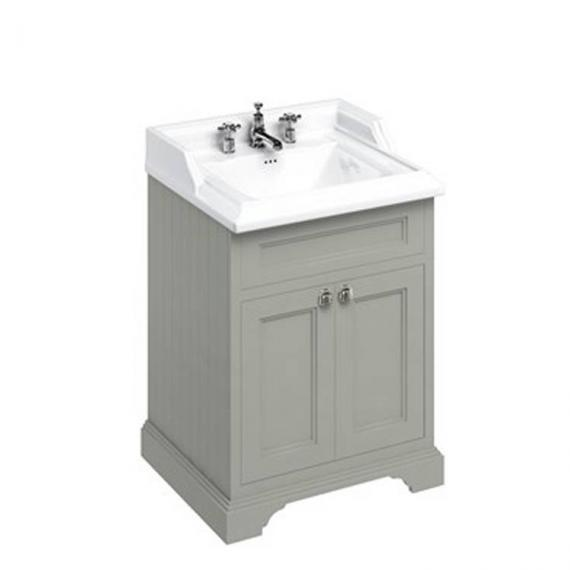 Burlington Olive 650mm Freestanding Vanity Unit With Doors & Classic Basin 3 tap hole