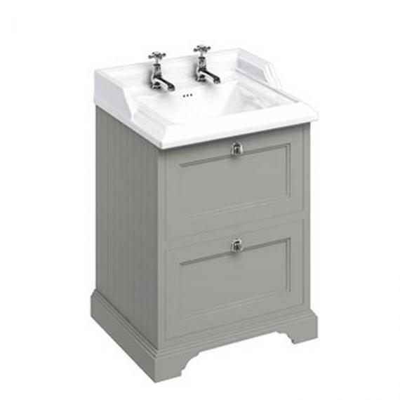 Burlington Olive 670mm Freestanding Vanity Unit With Drawers & Classic Basin 2 tap hole