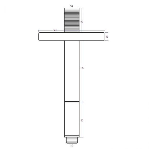 Crosswater Rex Nickel Ceiling Shower Arm Specification