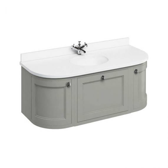 Burlington Olive 1340mm Wall Hung Curved Vanity Unit, Worktop & Basin