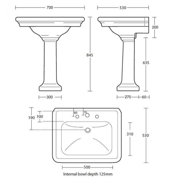 Imperial Firenze Large Basin and Pedestal Specification
