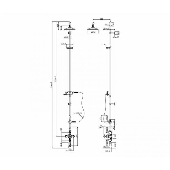 Burlington Avon Thermostatic Shower Valve, Rigid Riser & 9