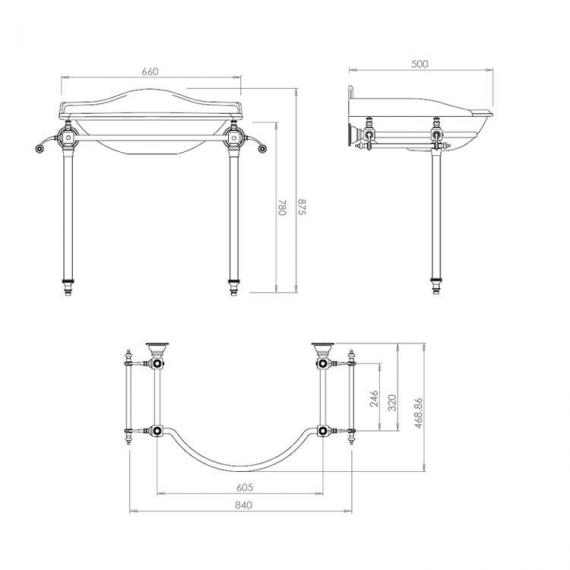 Imperial Hardwick Oxford Large Basin Stand with Glass Legs Specification