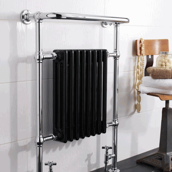 Hudson Reed Marquis Chrome & Black Heated Towel Rail - Image 2