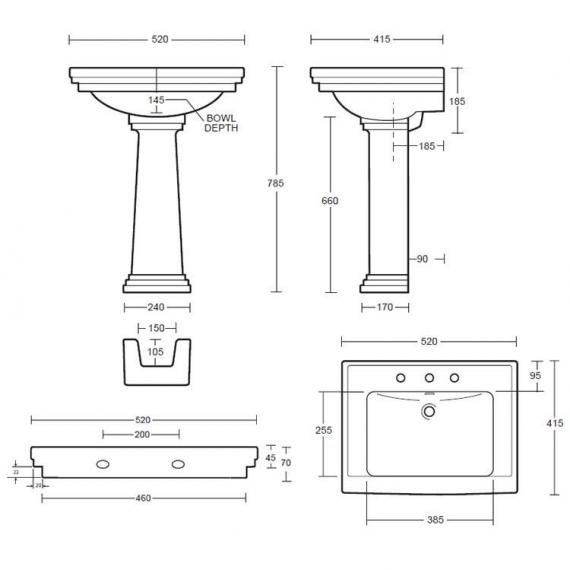 Imperial Astoria Deco Small Basin and Pedestal Specification