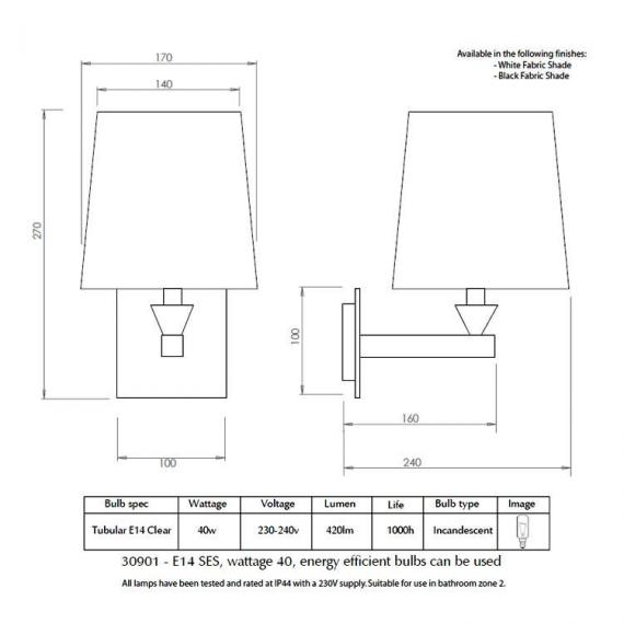 Imperial Astoria Wall Light With Fabric Shade Specification