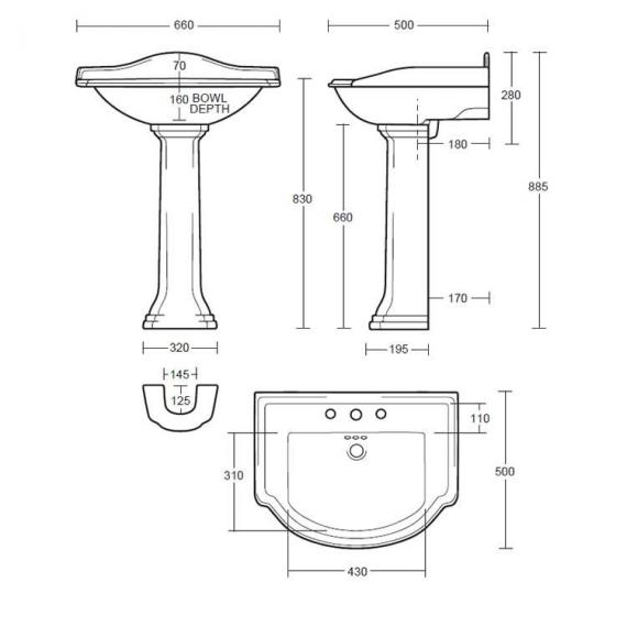 Imperial Drift Large Basin and Pedestal Specification
