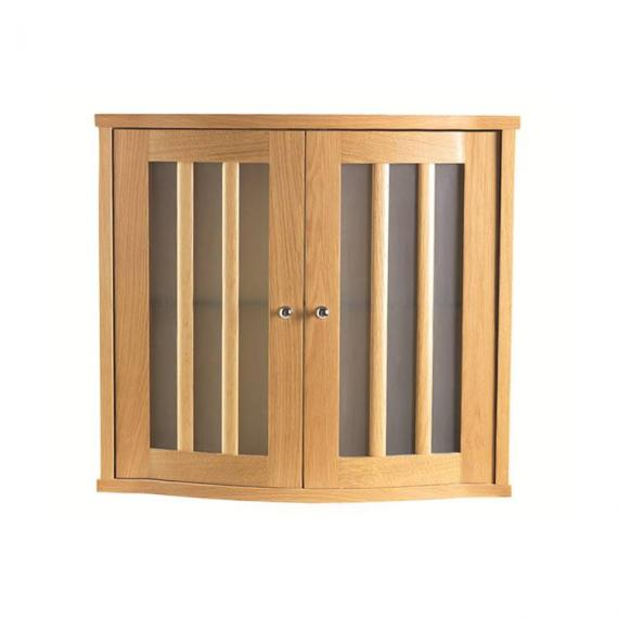 Imperial Linea Oak Wall Cabinet With 2 Curved Glass Doors