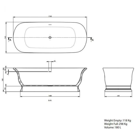 Imperial Marlow Double Ended Cian® Freestanding Bath Specification