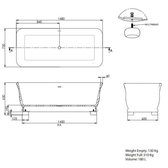 Imperial Putney Cian® Solid Surface Freestanding Bath Specification