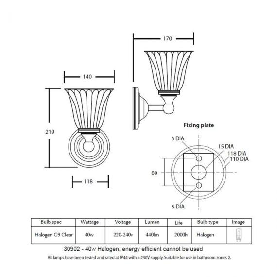 Imperial Segovia Wall Light With Glass Shade Specification