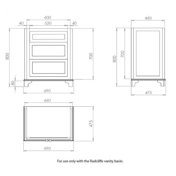 Imperial Radcliffe Thurlestone 2 Drawer Vanity Unit Specification