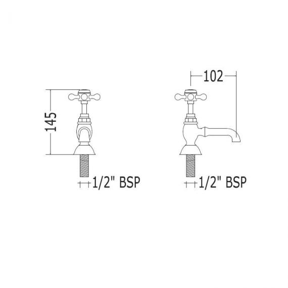 Imperial Victorian Basin Pillar Taps Specification