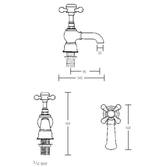 Imperial Victorian Bath Pillar Taps Specification