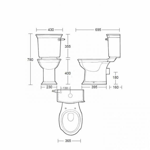Imperial Westminster Close Coupled Pan & Cistern - Spec