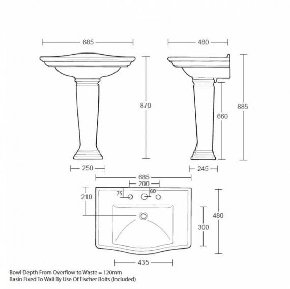Imperial Westminster Large Basin and Pedestal - Image 1