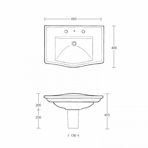 Imperial Westminster Large Basin and Semi Pedestal - Image 2
