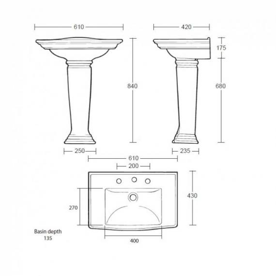 Imperial Westminster Medium Basin and Pedestal - Image 2