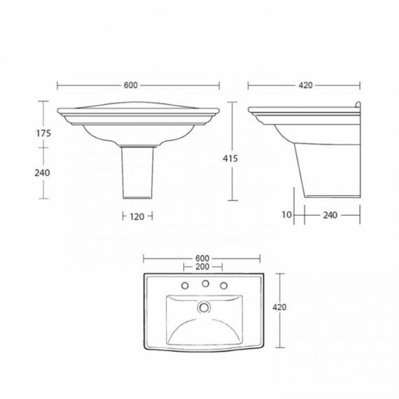 Imperial Westminster Medium Basin and Semi Pedestal - Image 2