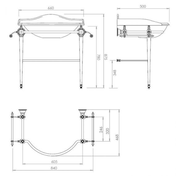 Imperial Drift Hardwick Basin Stand with Glass Legs Specification