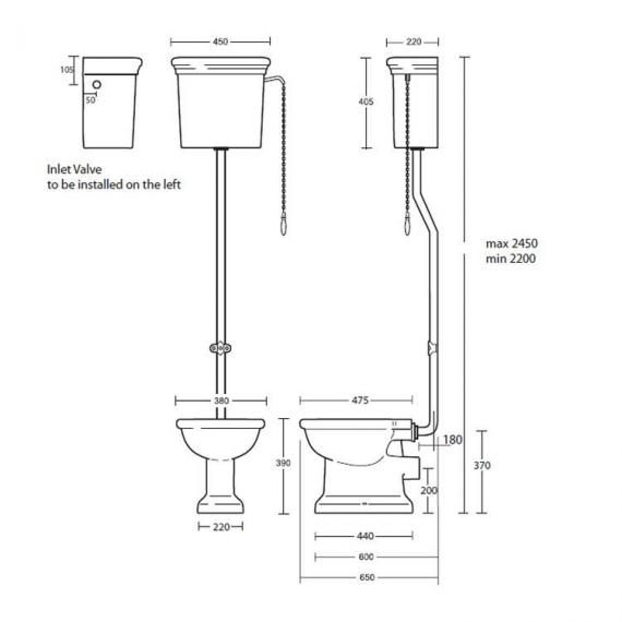 Imperial Etoile High Level Pan and Cistern Specification
