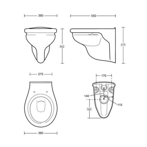 Imperial Etoile Wall Hung Toilet Specification