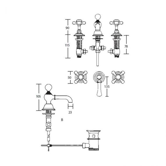 Imperial Victorian 3 Hole Basin Mixer Specification