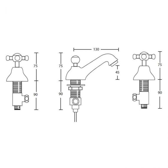 Imperial Westminster 3 Tap Hole Basin Mixer Specification