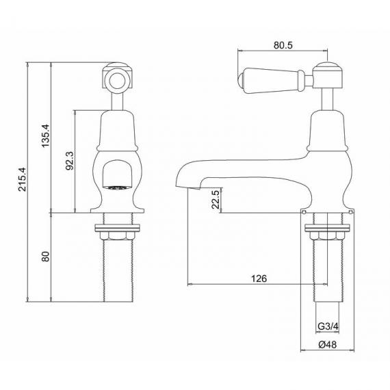 Burlington Kensington Bath Taps - Spec