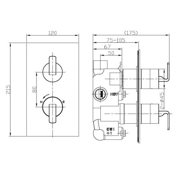 Crosswater Kelly Hoppen Zero 1 Thermostatic Shower Valve Specification