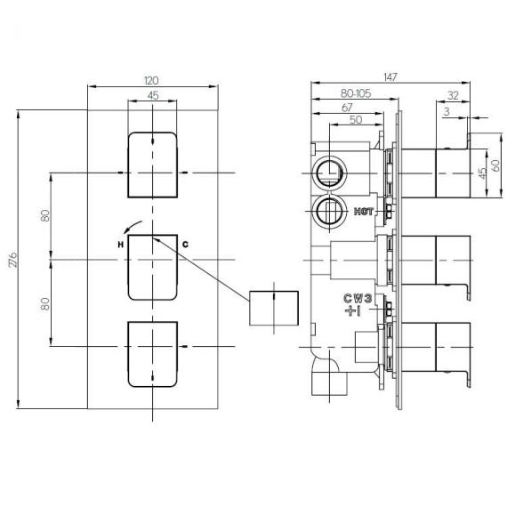 Crosswater Kelly Hoppen Zero 3 Thermostatic Triple Shower Valve Specification