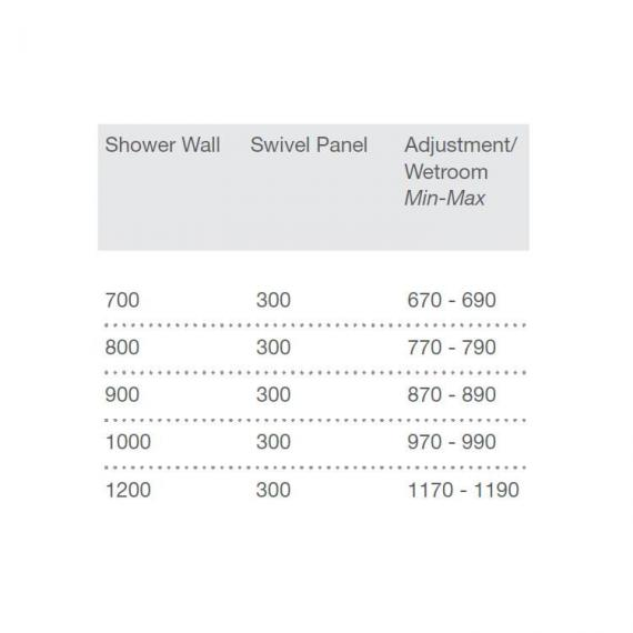 Merlyn 8 Series Shower Wall With Swivel Panel Specification