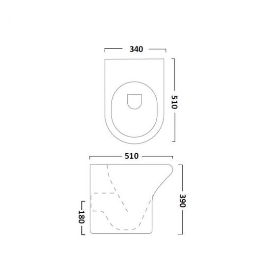 Tavistock Micra Short Projection Back To Wall Toilet & Soft Closing Seat - Spec