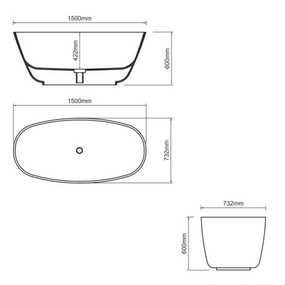 Ashton & Bentley Organic Techni Freestanding Bath 1500mm Specification