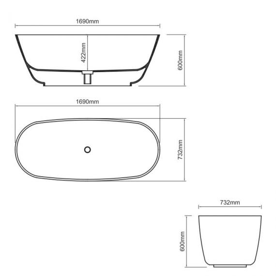 Ashton & Bentley Organic Techni Freestanding Bath 1690mm Specification