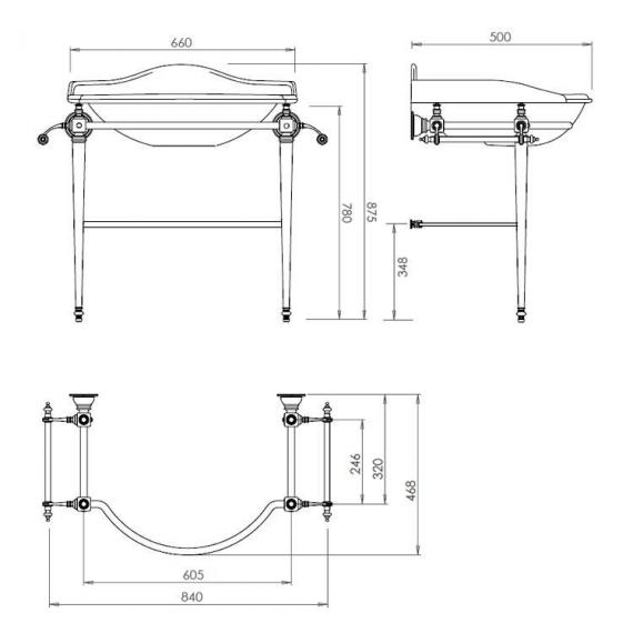Imperial Oxford Basin Stand with Large Basin Specificatiom