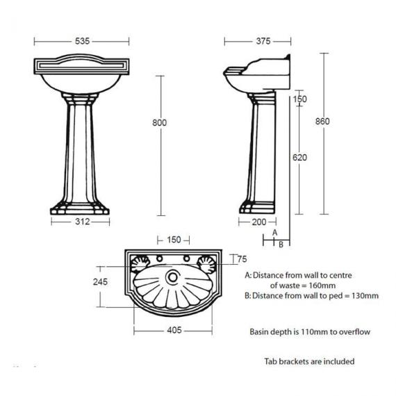 Imperial Oxford Small Basin and Pedestal Specification