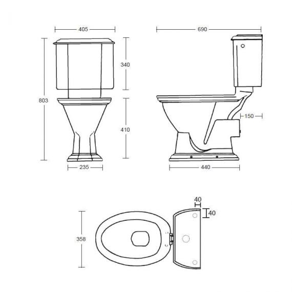 Imperial Oxford Close Coupled Pan and Cistern Specification
